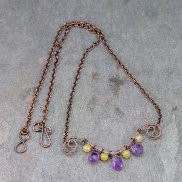 Copper Wire Wrapped Purple Gemstone Bar Necklace is 17 Inches Long