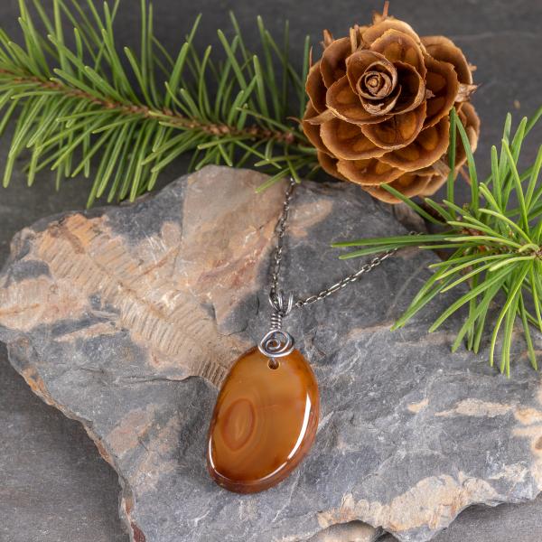 Brown Agate Slab Pendant