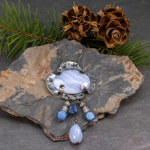 Blue Lace Agate Pendant with Kyanite and Chalcedony