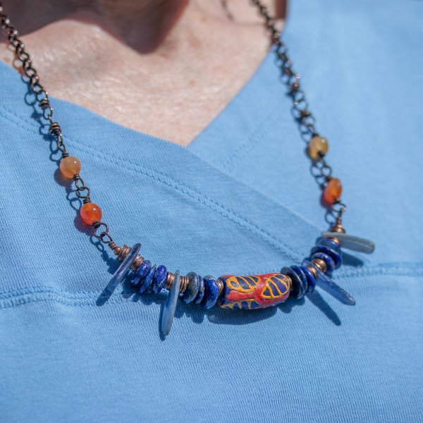 Lapis, Kyanite, Agate, and Krobo Bead Necklace