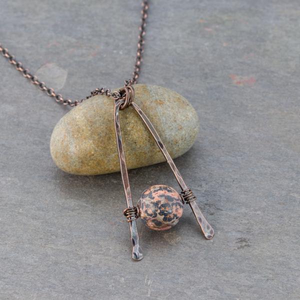Red Leopardskin Jasper Necklace in Antiqued Copper