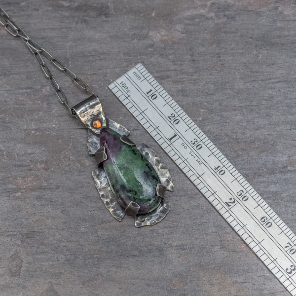 Ruby in Zoisite Pendant Measures 1.625-inches Long
