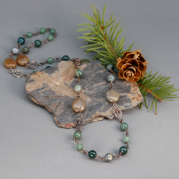 Green Stone Necklace Sterling Silver