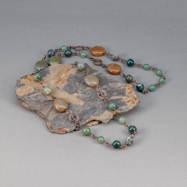 Hand Wrought Sterling Silver Jasper and Aventurine Station Chain
