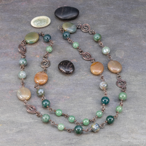 Handcrafted Silver Necklace with Gemstones in Shades of Green and Brown