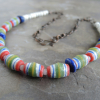 African Glass Barrel Bead Necklace