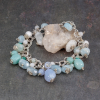 Sterling Silver Chain Bracelet with Pastel Gemstone Charms