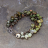 Boho Fringe Bracelet with Green Stones