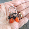 Copper Wire Wrapped Carnelian Earrings