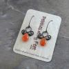 Fancy Wire Earrings with Dainty Carnelian Teardrops