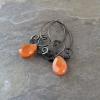 Orange Stone Earrings, Citrus Orange Earrings