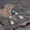 Amazonite, Aquamarine, and Moonstone Earrings in Sterling Silver