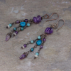 Boho Dangle Earrings with Amethyst, Apatite, and Amazonite Stones