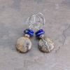 Tan, Black, and Blue Stone Earrings in Silver