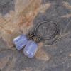 Blue Chalcedony Nuggets Dangle on Pixie Ear Hooks Handmade in Sterling Silver