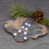 Linear Earrings with Blue Lace Agate Pebbles