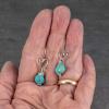 Petite Turquoise Earrings on Heart Ear Hooks
