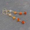 Carnelian Linked Stone Dangle Earrings