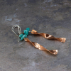 Real Turquoise Copper and Sterling Silver Earrings