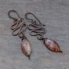 Brown Chalcedony Earrings, Hammered Copper