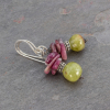Green Garnet and Pink Tourmaline Stone Earrings