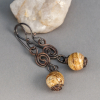Copper and Natural Stone Dangle Earrings