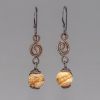 Copper Dangle Earrings with Picture Jasper Natural Stones