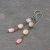 Pink Stone Long Dangle Earrings Nickel Free Ear Wires
