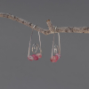 Triangular Drop Earrings with Pink Gemstones