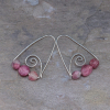Rustic Silver Spiral Earrings with Tourmaline Stones