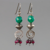 Holiday Red and Green Gemstone Earrings