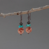 Red Porcelain Jasper Earrings with Real Turquoise Stones