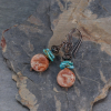 Blue and Earthy Red Stone Earrings