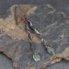 Long Dangle Earrings with Tiny Moss Aquamarine Gemstones
