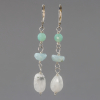 Aquamarine Earrings with Amazonite and Moonstone