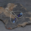 Silver Raindrop Earrings with Kyanite and Lapis Stones