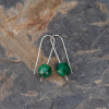 Simple Drop Earrings Holiday Green Stones