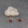 Sleek Silver and Red Earrings