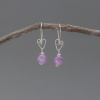 Rustic Silver Heart Earrings with Lavender Amethyst Pebbles