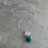 Green Gemstone Ball on Silver Chain