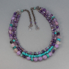 Three Strand Gemstone Beaded Necklace, Amethyst and Turquoise