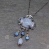"Blue Lace Agate Pendant Measures 1.5"" wide  by 3"" Long, 17"" Chain"