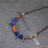African Glass and Natural Stone Necklace is 19-inches Long