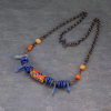 Colorful Bib Necklace Blue and Orange