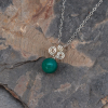 Dainty Necklace Sterling Silver, Green Stone Pendant