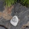 White Pebble Necklace Oxidized Silver