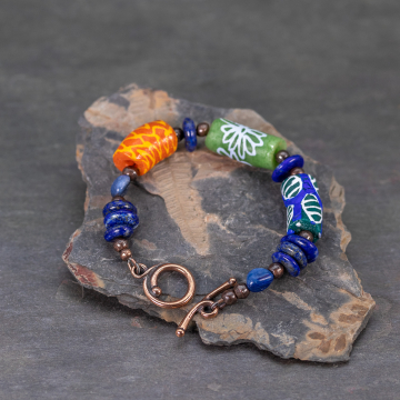Bright Colorful Bracelet with Ghana Krobo Beads
