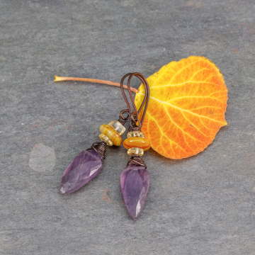 Autumn Purple and Yellow Stone Earrings