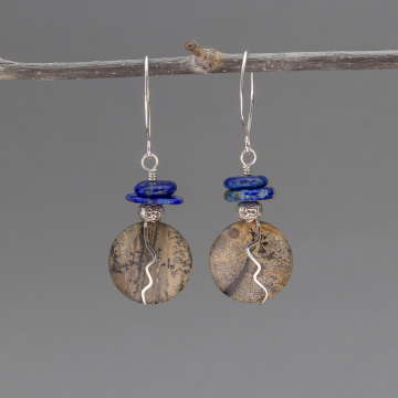 Om Earrings with Artistic Jasper and Lapis Stones