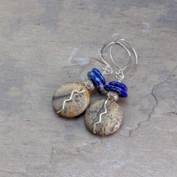 Artistic Jasper and Lapis Earrings in Sterling Silver